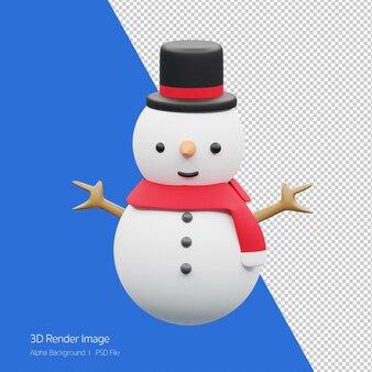 흰색 절연 크리스마스 휴가 위한 귀여운 눈사람의 3d 렌더링.