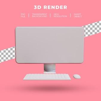 고립 된 데스크톱 컴퓨터의 3d 렌더링