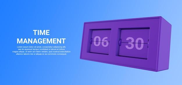 방문 페이지 또는 자산에 대한 디지털 시계의 3d 렌더링