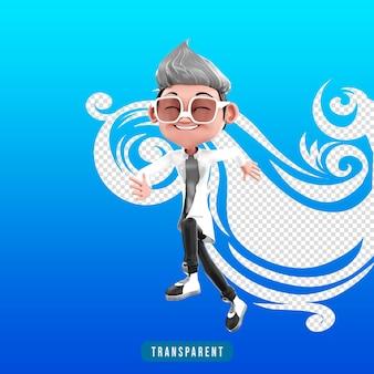 실행 및 점프 의사 캐릭터의 3d 렌더링