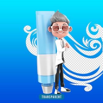 3d-рендеринг персонажа доктора с зубной пастой