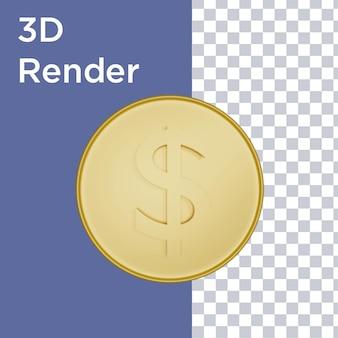 1ドル硬貨の正面図の3dレンダリング