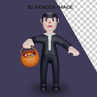 드라큘라의 3d 렌더링 또는 할로윈 개념으로 치료