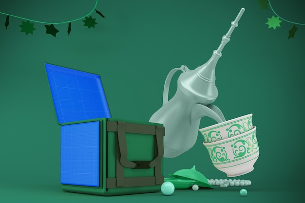 3d-рендеринг макета доставки праздника ид