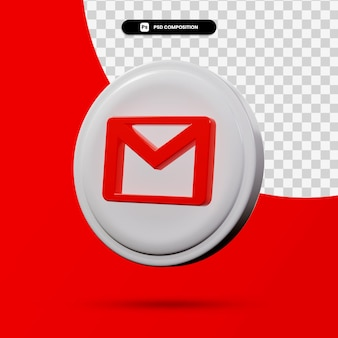 分離された電子メールアプリケーションのロゴの3dレンダリング