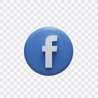 페이스 북 아이콘의 3d 렌더링