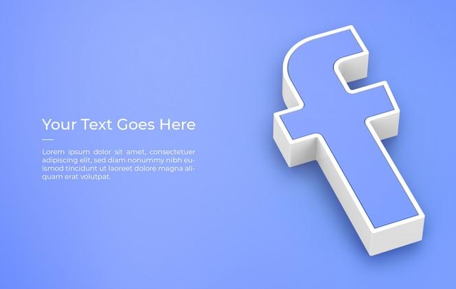 Facebook 로고 디자인 모형의 3d 렌더링