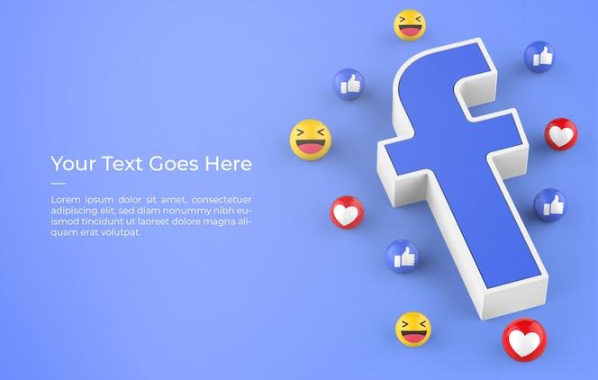 이모티콘 반응 디자인 모형이있는 facebook 로고의 3d 렌더링