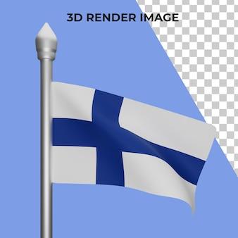 핀란드 국기 개념 핀란드 국경일의 3d 렌더링