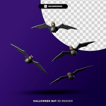 3d-рендеринг летающих летучих мышей концепции хэллоуина изолированы