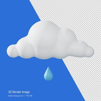 화이트 절연 예측 날씨 '이슬비'의 3d 렌더링.