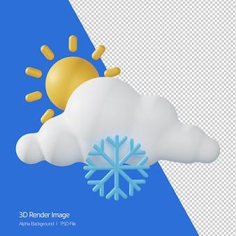 예측 날씨 '서리가 내린 화창한' 화이트 절연의 3d 렌더링.