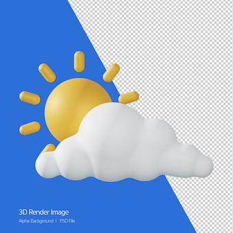 화이트 절연 예측 날씨 'partlycloudymostlycloudy'의 3d 렌더링.