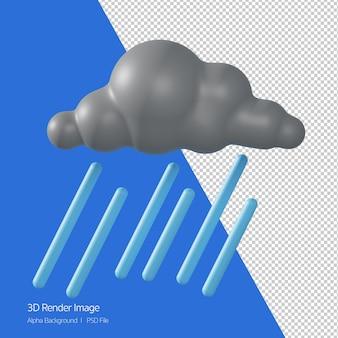 3d 렌더링 예측 날씨 'heavyshower 비가' 흰색 절연.