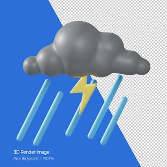 예측 날씨 '천둥 비 스트롬' 화이트 절연의 3d 렌더링.