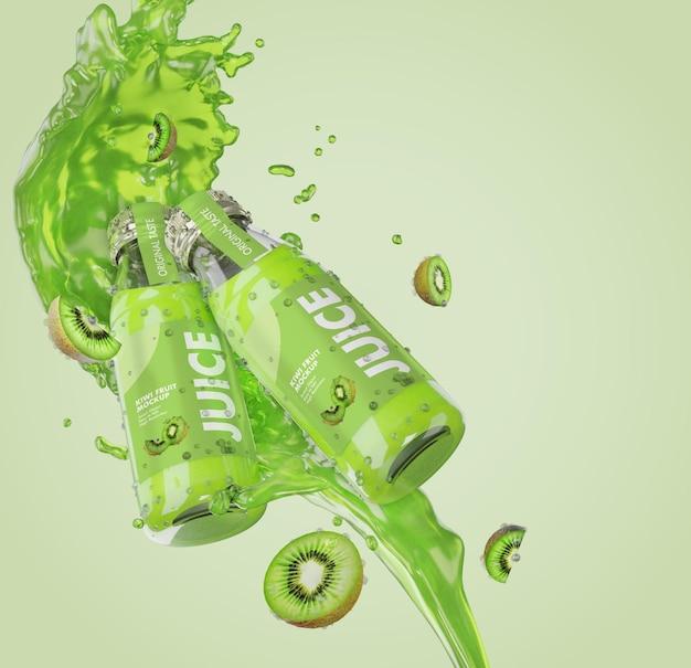 3d-рендеринг бутылки макета свежего сока с всплеском