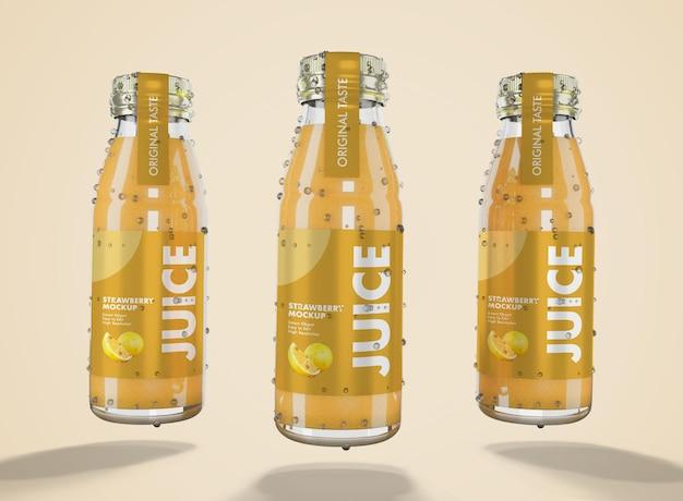 3d-рендеринг макета свежего сока со стеклянной бутылкой