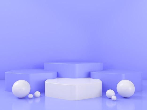 기하학적 모양 연단 디스플레이 모형의 3d 렌더링