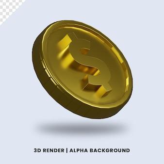 3d-рендеринг золотой монеты доллара с глянцевым эффектом изолированы. полезно для иллюстрации бизнеса или электронной коммерции.
