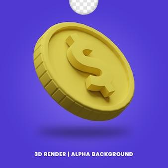 3d-рендеринг золотой монеты доллара с матовым эффектом изолированы. полезно для иллюстрации дизайна проекта бизнеса или электронной коммерции.
