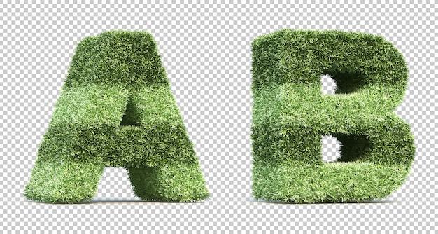 3d-рендеринг травы игрового поля с буквами a и b