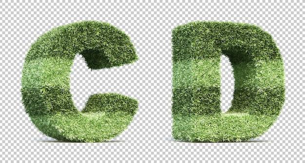 3d-рендеринг травы игрового поля алфавит c и алфавит d