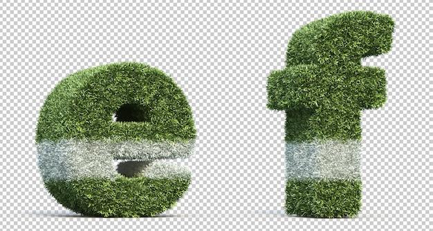 3d-рендеринг травы игрового поля алфавит e и алфавит f