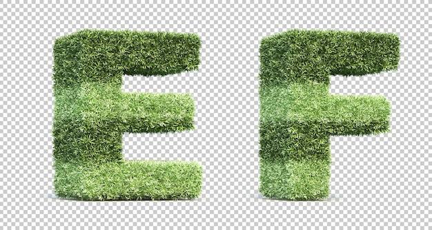 3d-рендеринг травы игрового поля алфавита e и алфавита f