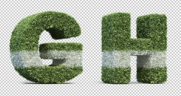 잔디 경기장 알파벳 g와 알파벳 h의 3d 렌더링