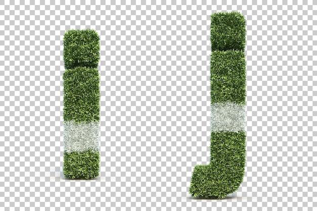 잔디 경기장 알파벳 i와 알파벳 j의 3d 렌더링