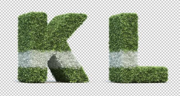잔디 경기장 알파벳 k와 알파벳 l의 3d 렌더링