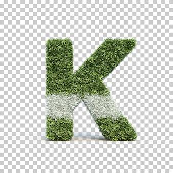 잔디 경기장 알파벳 k의 3d 렌더링