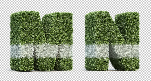 잔디 경기장 알파벳 m과 알파벳 n의 3d 렌더링