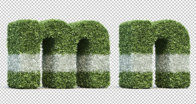3d-рендеринг травы игрового поля алфавит m и алфавит n
