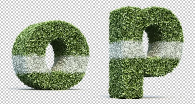 3d-рендеринг травы игрового поля алфавит o и алфавит p