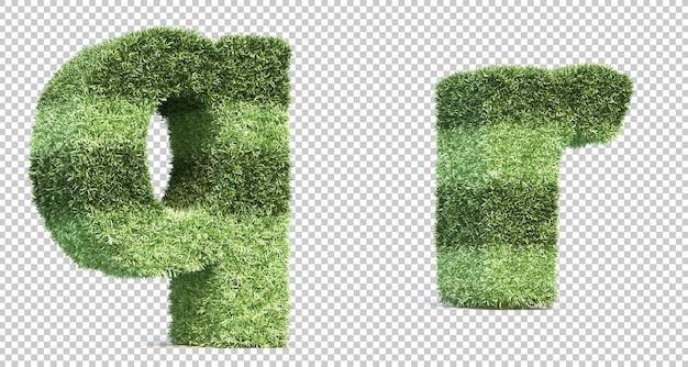 3d-рендеринг травы игрового поля алфавит q и алфавит r