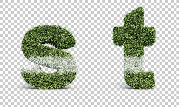 잔디 경기장 알파벳 s와 알파벳 t의 3d 렌더링