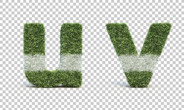 잔디 경기장 알파벳 u와 알파벳 v의 3d 렌더링