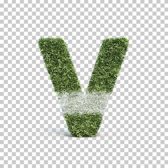 잔디 경기장 알파벳 v의 3d 렌더링