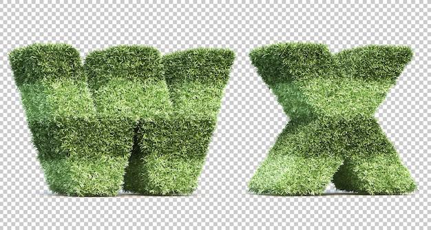3d-рендеринг травы игрового поля алфавит w и алфавит x