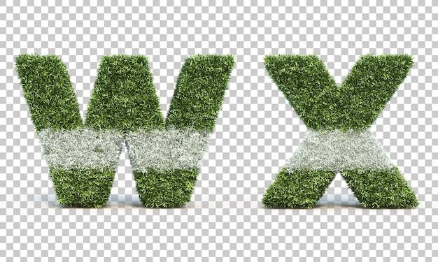 잔디 경기장 알파벳 w와 알파벳 x의 3d 렌더링