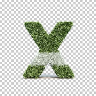 잔디 경기장 알파벳 x의 3d 렌더링