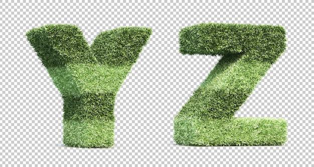 3d-рендеринг травы игрового поля алфавит y и алфавит z