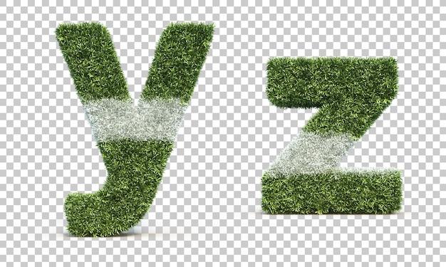 잔디 경기장 알파벳 y와 알파벳 z의 3d 렌더링