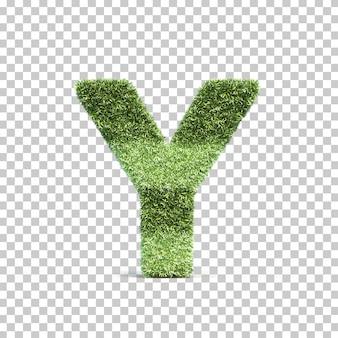 잔디 경기장 알파벳 y의 3d 렌더링