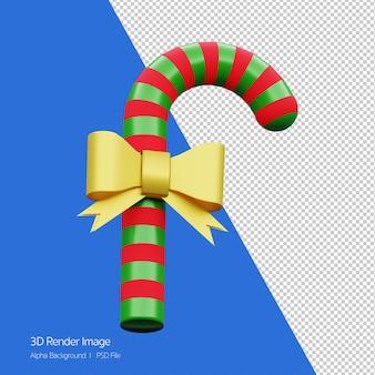 고립 된 크리스마스 휴가에 대 한 녹색 및 빨강 사탕 지팡이의 3d 렌더링.