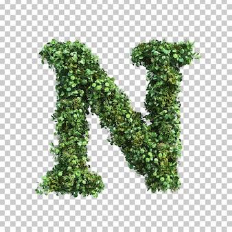 緑の植物アルファベットnの3 dレンダリング