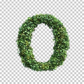 緑の植物アルファベットoの3 dレンダリング