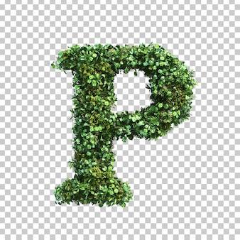 緑の植物アルファベットpの3 dレンダリング