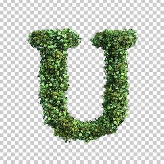 緑の植物アルファベットuの3 dレンダリング